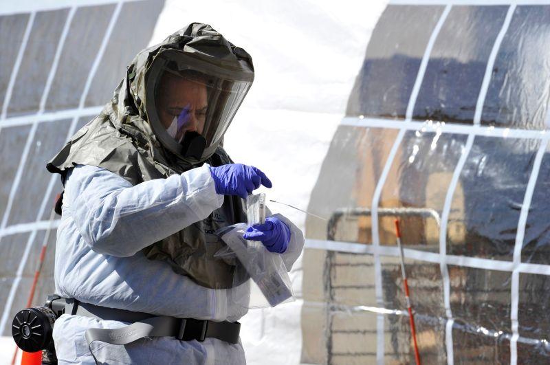A nurse in a hazmat suit