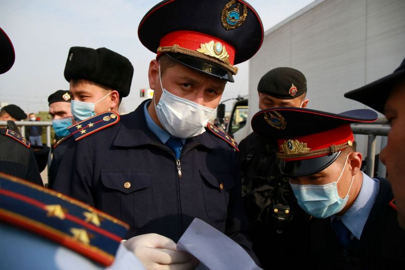 Law enforcement officers wearing face masks in Kazakhstan