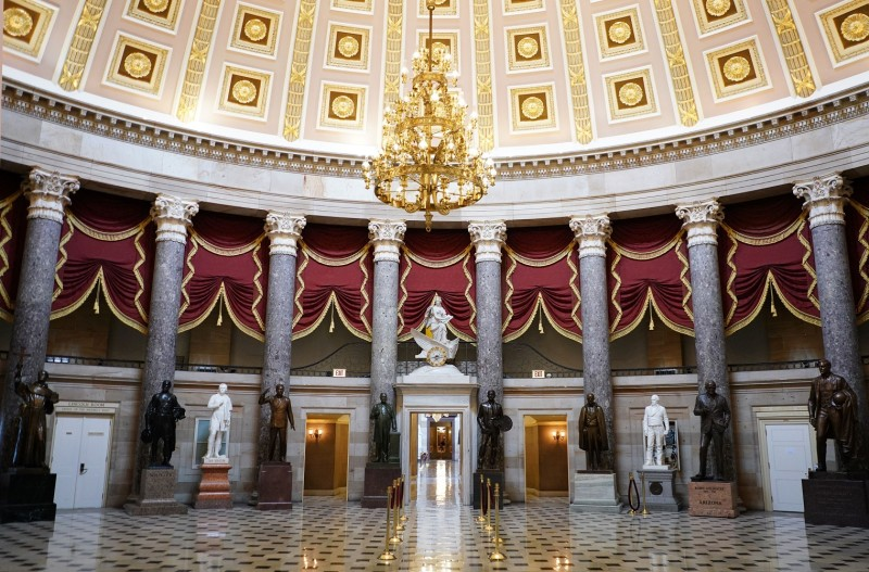An empty Statuary Hall is seen at the US Capitol in  Washington, DC on March 19, 2020.