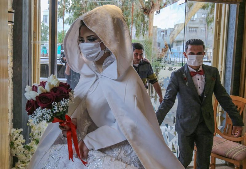 A Palestinian couple wed amid the coronavirus epidemic