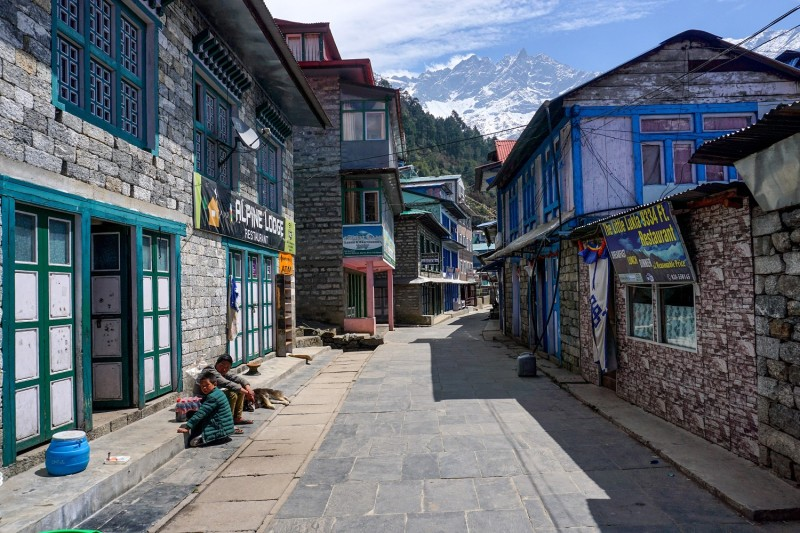 A general view shows an almost deserted street with closed shops and restaurants during a government-imposed nationwide lockdown as a preventive measure against the coronavirus in Lukla, northeast of Kathmandu, on March 28.
