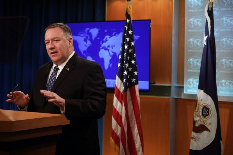 Secretary Of State Mike Pompeo speaks at the State Department