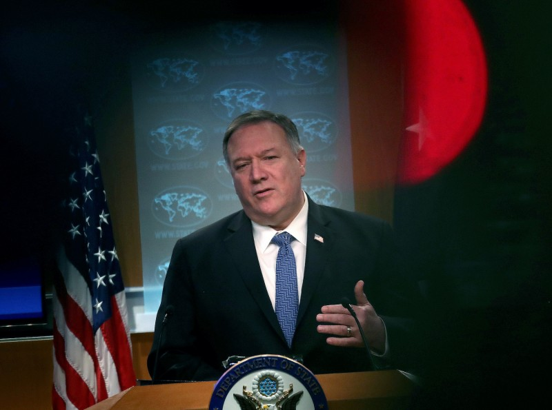 Secretary of State Mike Pompeo speaks at a press conference.
