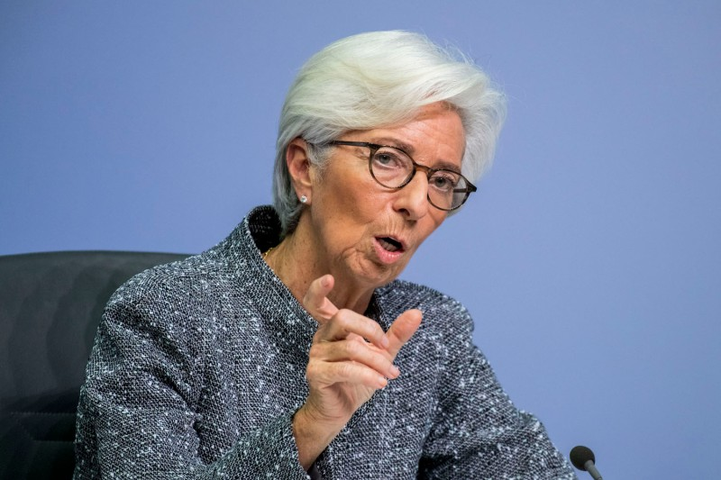 Christine Lagard, the president of the European Central Bank, speaks in Frankfurt, Germany, on March 12.