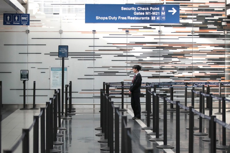 O'Hare Airport in Chicago, which is nearly devoid of travelers