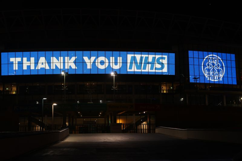 Wembley Way is seen thanking the NHS