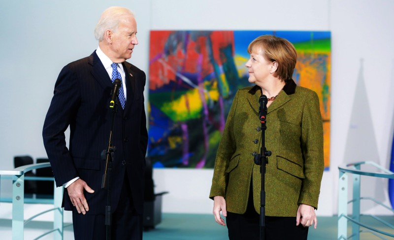 Joe Biden and German Chancellor Angela Merkel