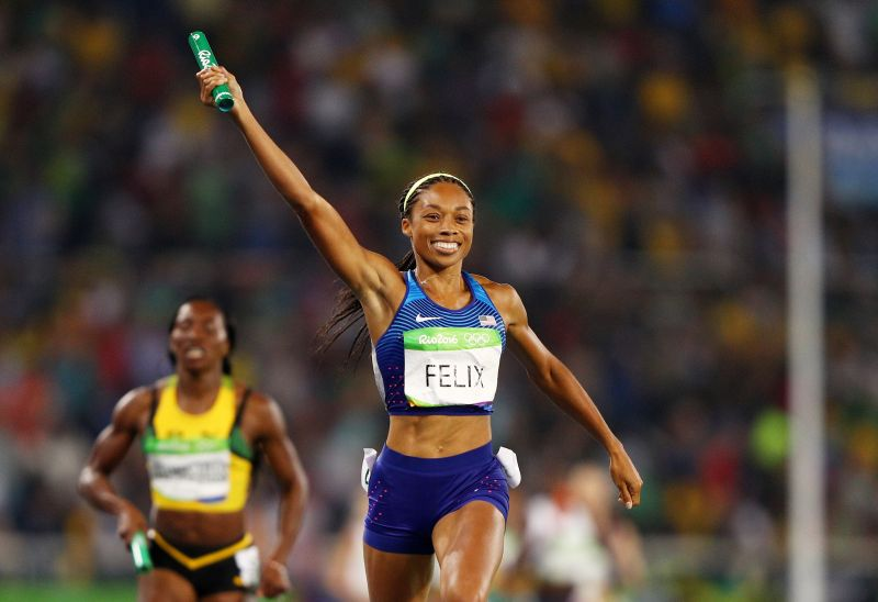 Allyson Felix of the United States wins gold in the women's 4 x 400 meter relay at the Olympic Games in Rio de Janeiro, Brazil, on Aug. 20, 2016.