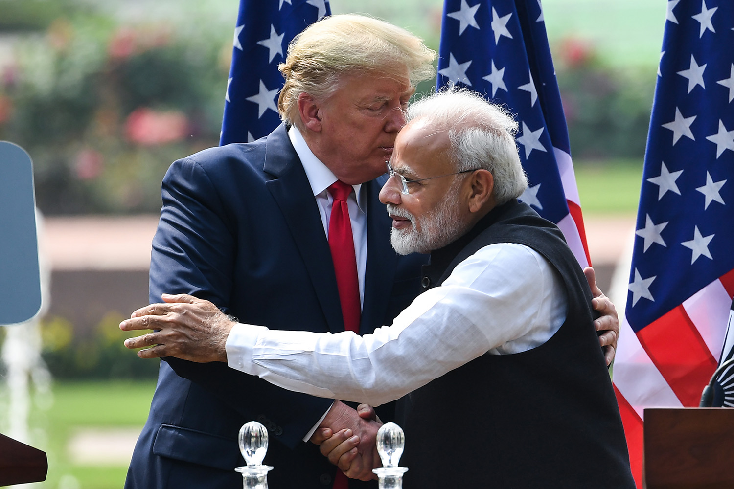 U.S. President Donald Trump shakes hands with India's Prime Minister Narendra Modi during a joint news conference in New Delhi on Feb. 25. PRAKASH SINGH/AFP via Getty Images