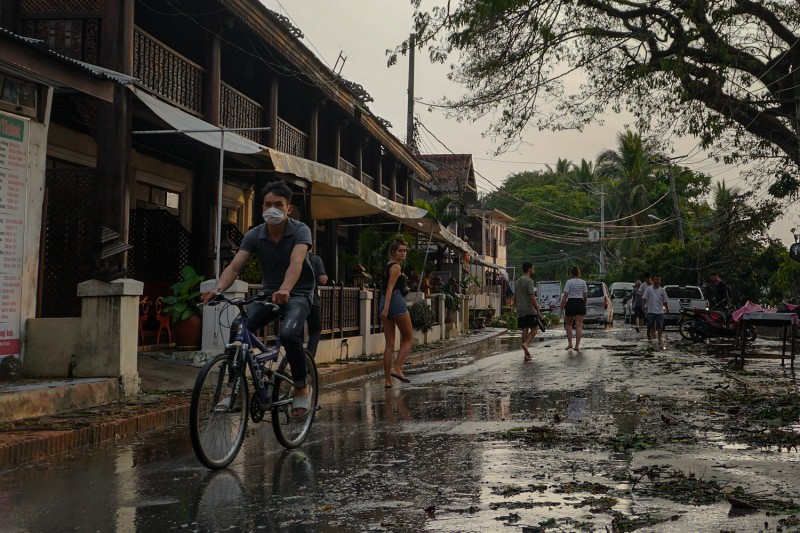 Visitors to Luang Prabang town, Laos, a world heritage site, are drastically lower than usual