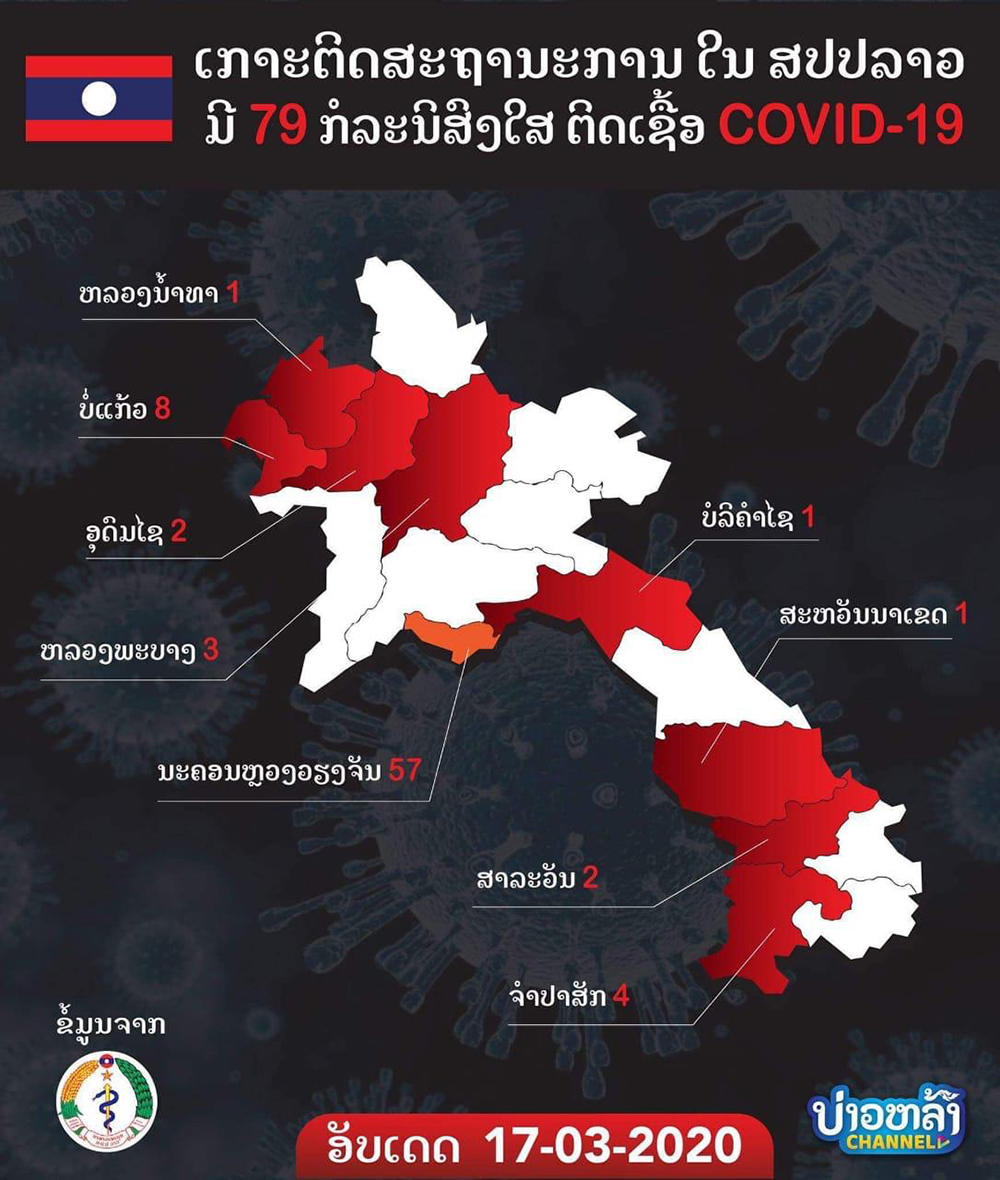 This graphic, published by the Laos Ministry of Health on March 17, shows how many suspected cases have been tested by province. Laos has reported no cases of coronavirus so far but doctors and citizens question the nation's testing capabilities.
