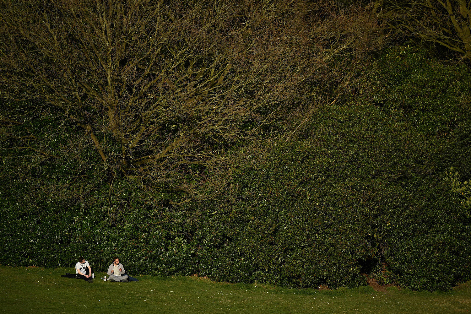 People sit in Crystal Palace Park in south London on March 24. BEN STANSALL/AFP via Getty Images