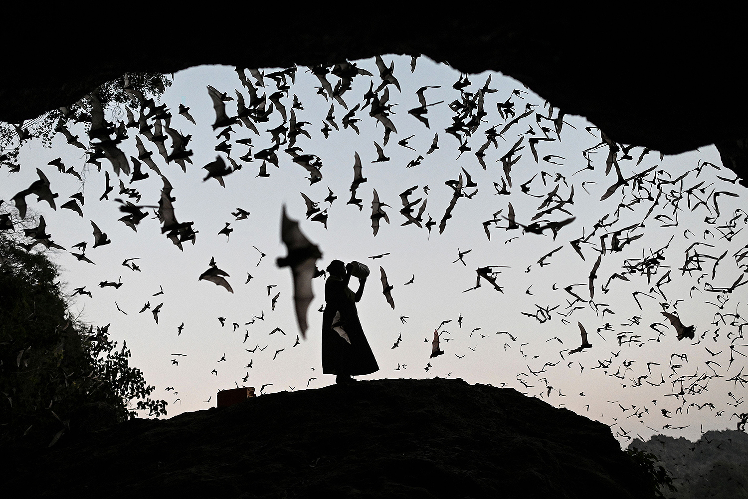 A woman makes noises as she directs bats away from a power tower in Hpa-An, Karen State, Myanmar, on March 1. Ye Aung Thu/AFP via Getty Images