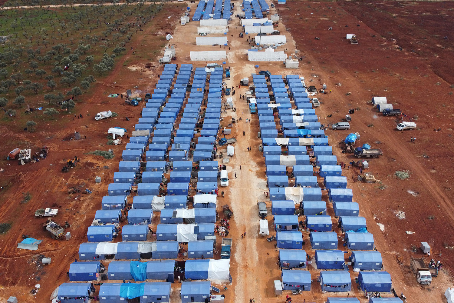An aerial view shows a newly created camp for internally displaced people near Maarrat Misrin, Syria, on Feb. 22. AREF TAMMAWI/AFP via Getty Images