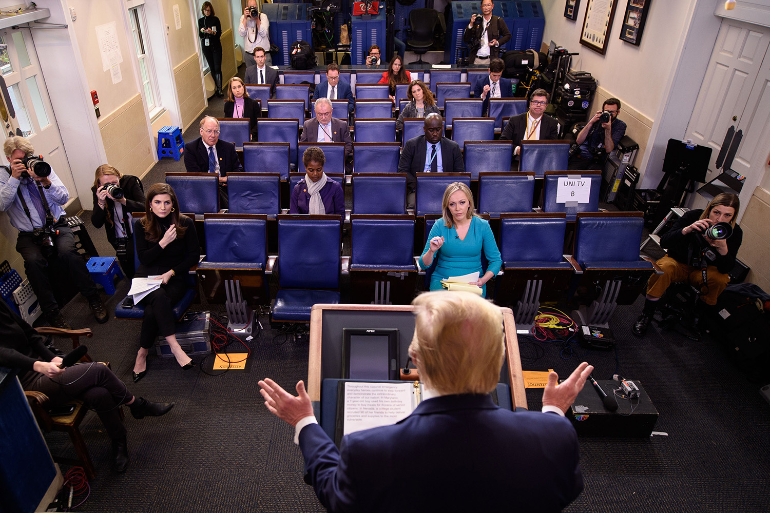 U.S. President Donald Trump speaks during the daily briefing on the coronavirus in the Brady Press Briefing Room at the White House on March 25. MANDEL NGAN/AFP via Getty Images