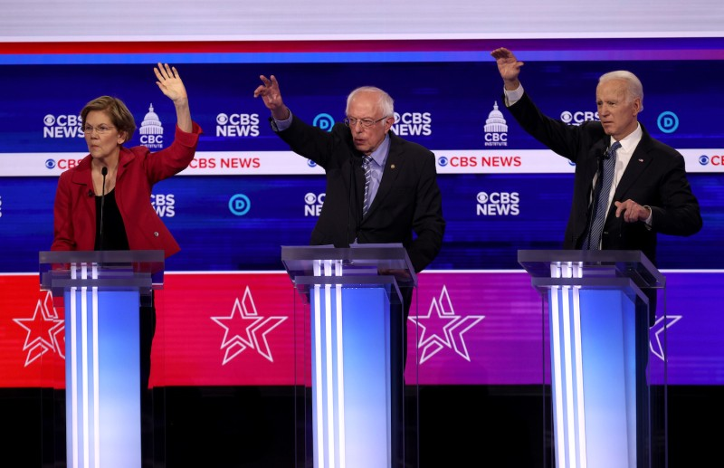Leading Democrats including Sens. Elizabeth Warren and Bernie Sanders and former Vice President Joe Biden, seen here at a debate on Feb. 25, are all proposing energy policies that could curtail the American energy boom.