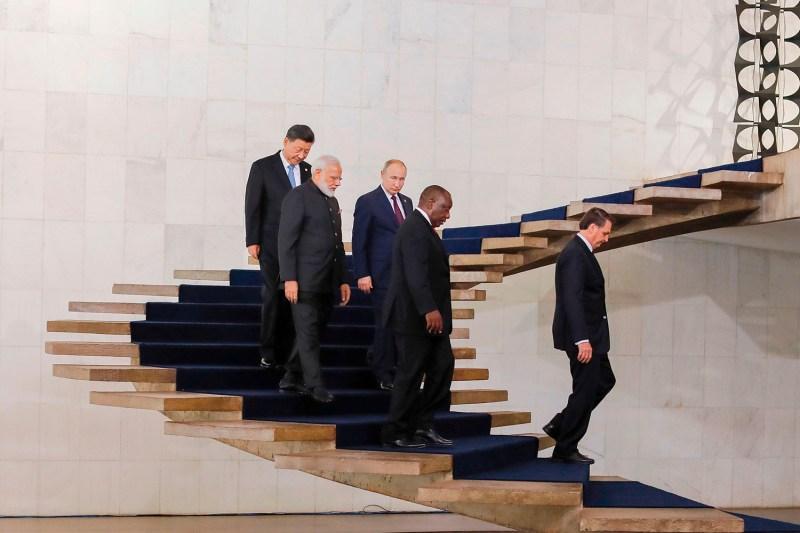 Chinese President Xi Jinping, Indian Prime Minister Narendra Modi, Russian President Vladimir Putin, South African President Cyril Ramaphosa, and Brazilian President Jair Bolsonaro attend the 11th BRICS Summit in Brasilia, Brazil, on Nov. 14, 2019.