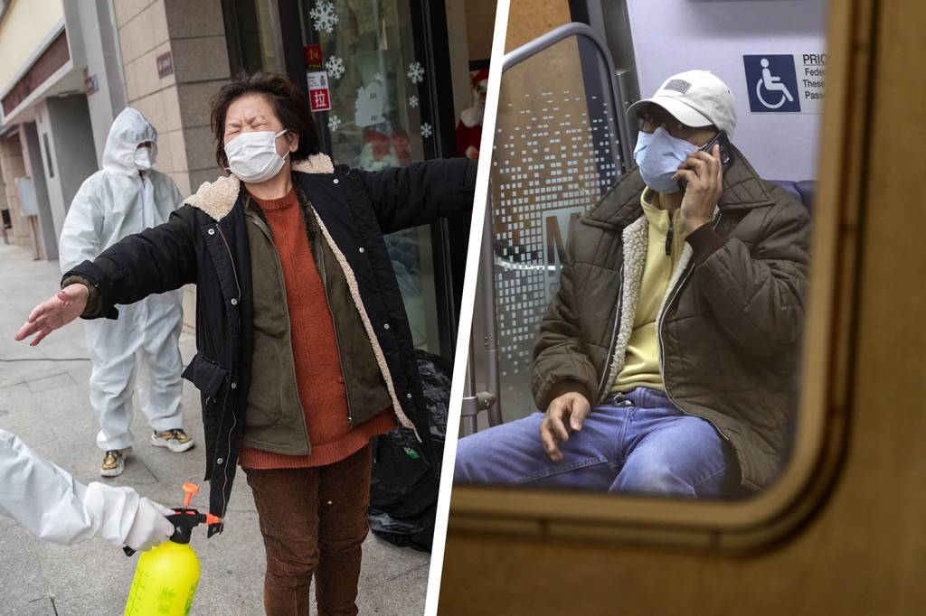 Left: A woman, who has recovered from the COVID-19 infection, is disinfected by volunteers as she arrives at a hotel for a 14-day quarantine after being discharged from a hospital in Wuhan, China, on March 1. Right: A passenger wears a mask on the Metro in Washington, D.C., on March 16.