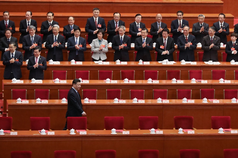 President Xi Jinping arrives at a meeting of the National People's Congress