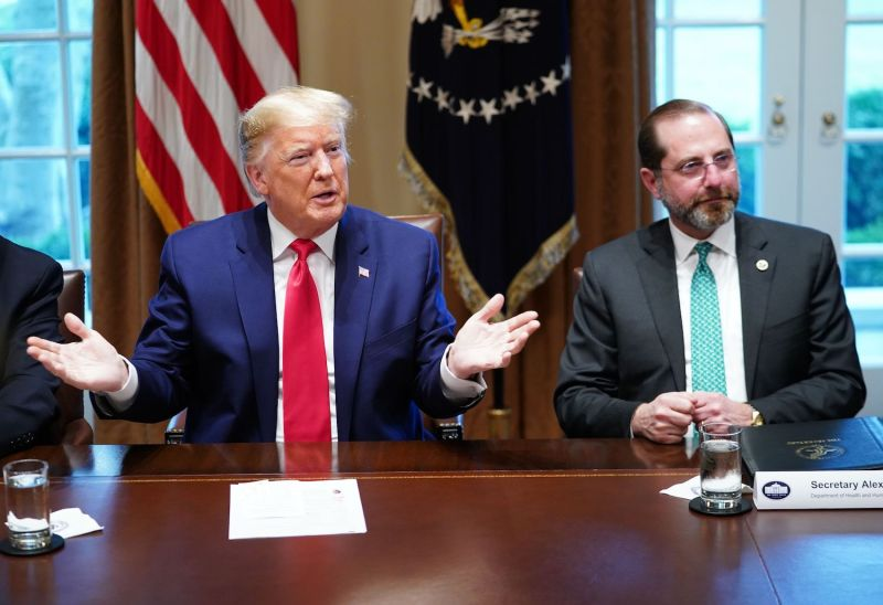 U.S. President Donald Trump and Health and Human Services Secretary Alex Azar meet with pharmaceutical executives to discuss the coronavirus.