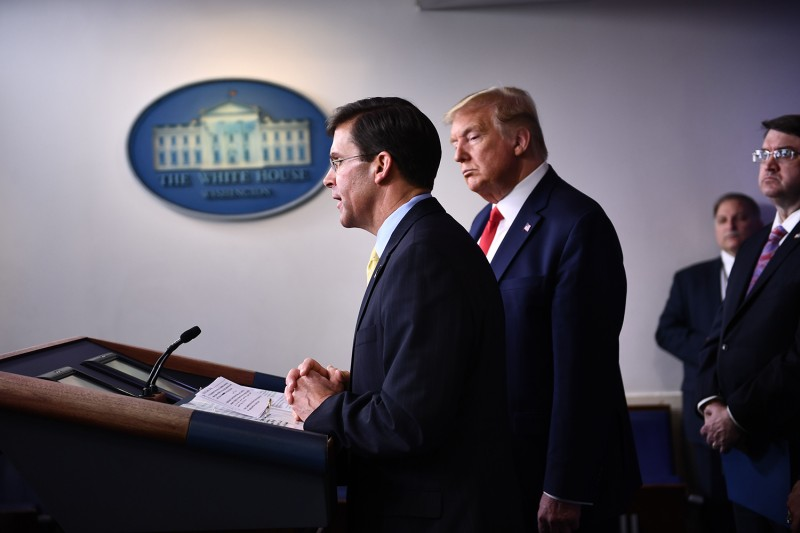 U.S. Defense Secretary Mark Esper speaks during the daily briefing on the novel coronavirus at the White House on March 18 in Washington.