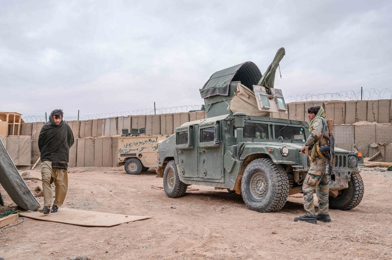 Afghan Border Police officers guard an outpost in Nahr-e-Saraj, an oft-contested district in southern Helmand province, Afghanistan, on Nov 20, 2019.