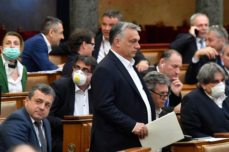 Hungarian Prime Minister Viktor Orban during a vote about the government's bill on the protection against the new coronavirus at the plenary session of the Hungarian Parliament in Budapest on March 30.