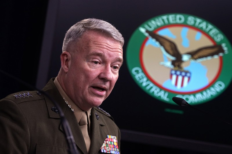 U.S. Marine Corps Gen. Kenneth McKenzie, the commander of U.S. Central Command, participates in a press briefing on Oct. 30, 2019, at the Pentagon in Arlington, Virginia.