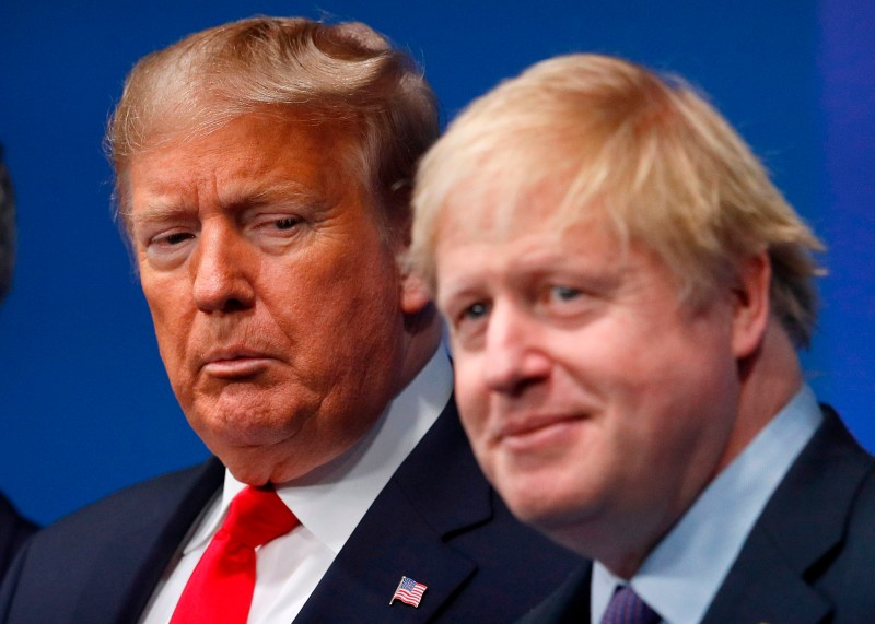 U.S. President Donald Trump and Britain's Prime Minister Boris Johnson at the NATO summit in Watford, England, on Dec. 4, 2019.