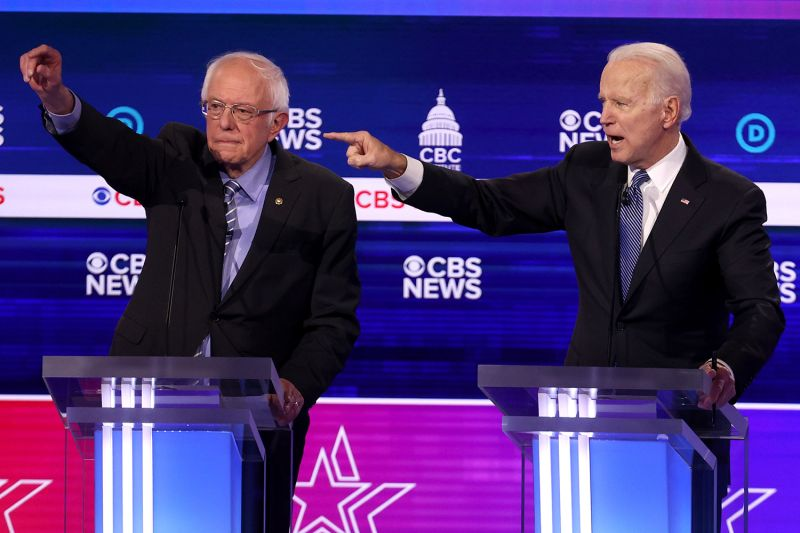 Former Vice President Joe Biden and Sen. Bernie Sanders during the debate in Charleston, S.C., on Feb. 25.