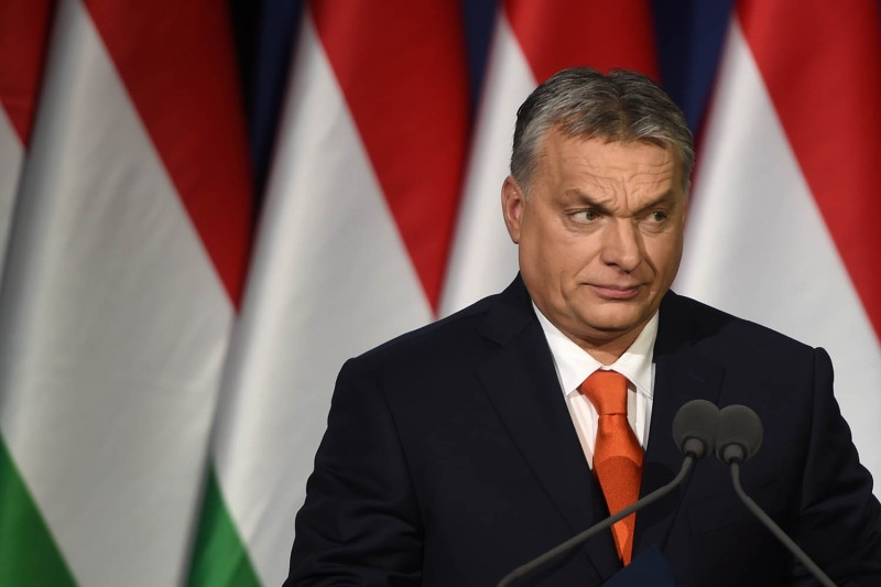 Hungarian Prime Minister Viktor Orban delivers his state of the nation address in Budapest on Feb. 18, 2018.