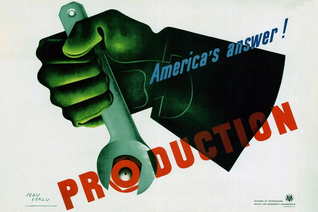 An American propaganda poster from World War II.