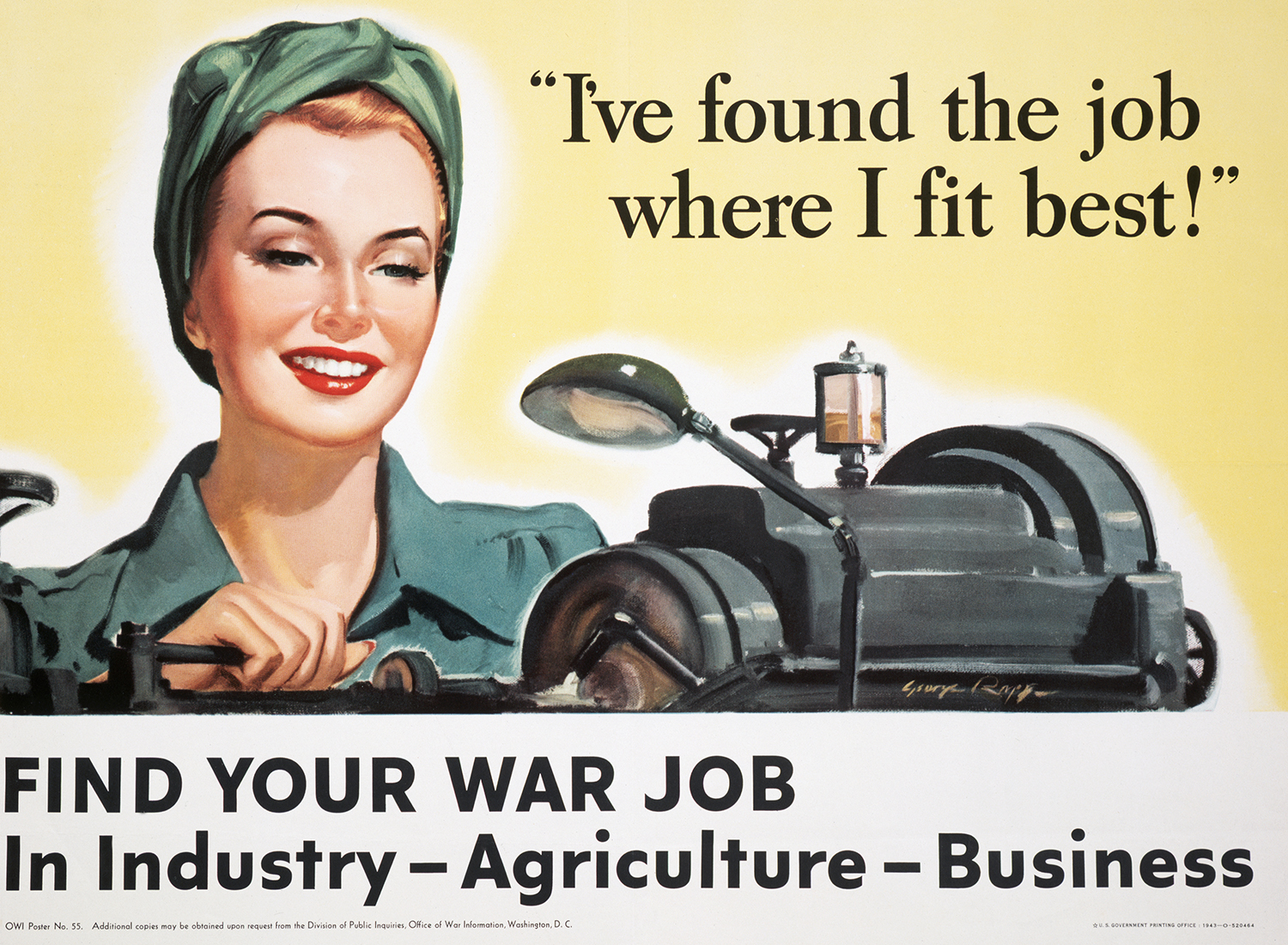 A World War II poster urges women to find a job to aid in the war effort.