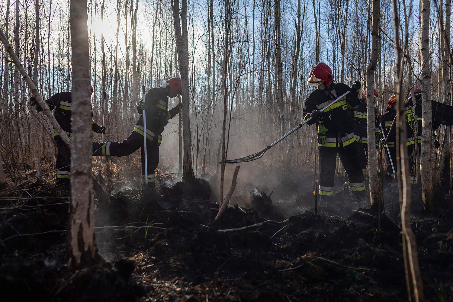 Polish firefighters extinguish a bushfire in Biebrza National Park on April 23. Massive wildfires have ravaged Poland's largest nature reserve as the country faces its worst drought in years.  WOJTEK RADWANSKI/AFP via Getty Images