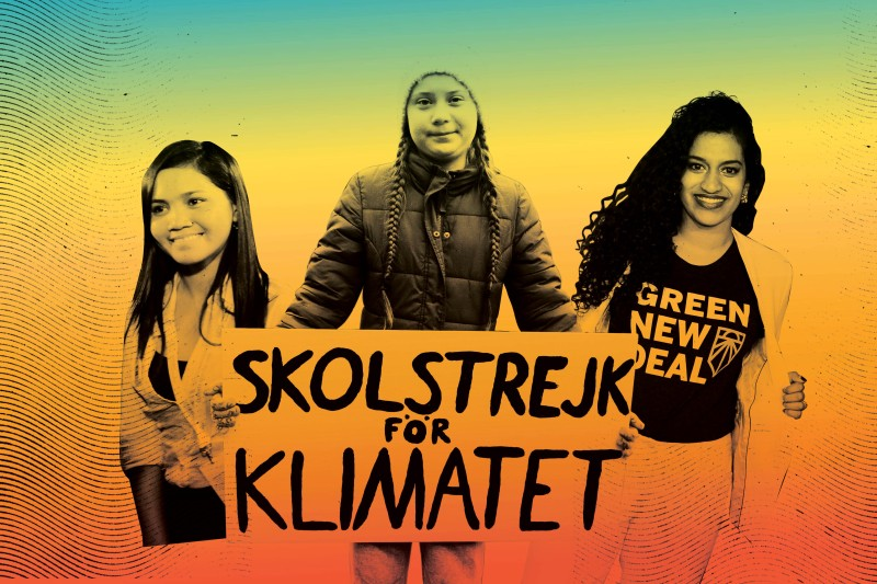From left: Climate activists Marinel Ubaldo, Greta Thunberg, and Varshini Prakash.