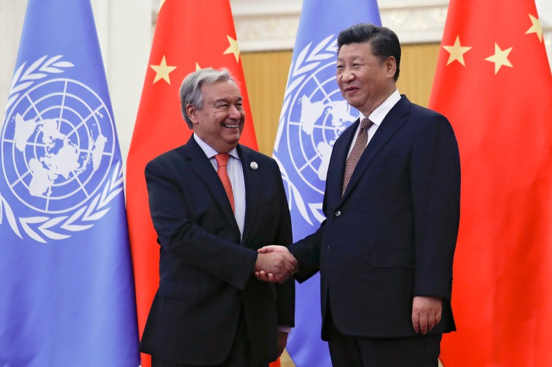 U.N. Secretary-General António Guterres shakes hands with Chinese President Xi Jinping in Beijing on Sept. 2, 2018.