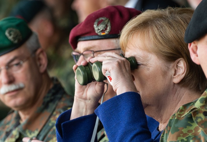 German Chancellor Angela Merkel looks on during exercises of a NATO tank unit in Münster, Germany, on May 20, 2019.