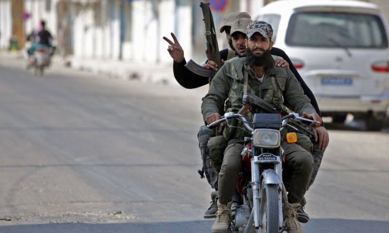 Turkish-backed Syrian fighters during a cease-fire