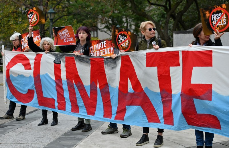 Climate activists protest in New York City on Oct. 22, 2019.