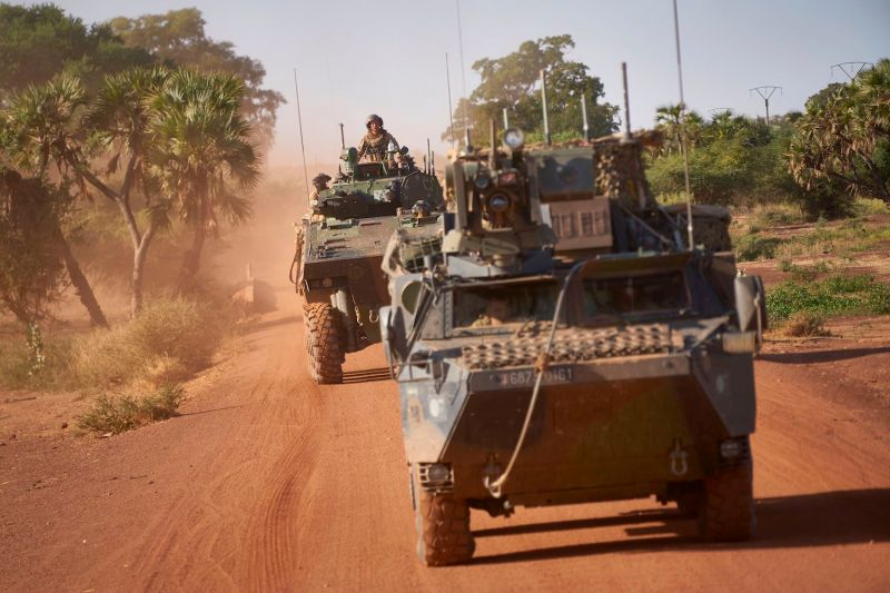 Two French army armored personnel carriers patrol a rural area during the Bourgou IV operation in northern Burkina Faso on Nov. 14, 2019, as part of a joint effort with the multinational force of the G5 Sahel.