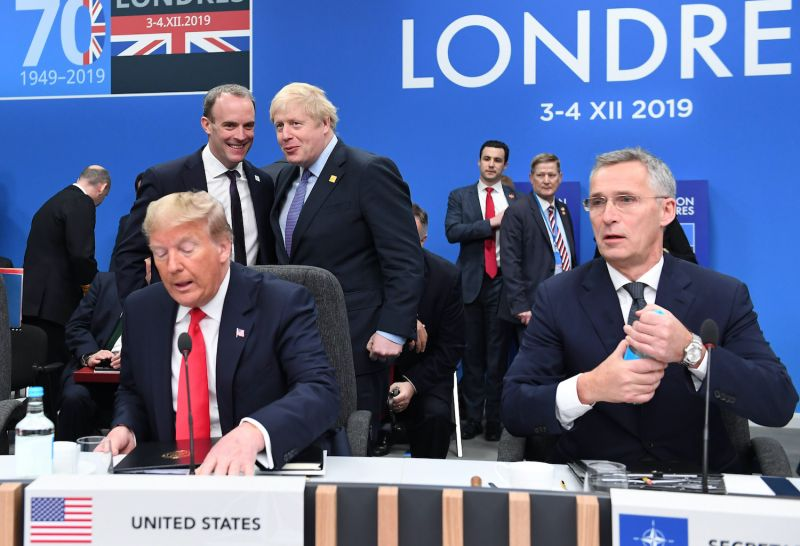 U.S. President Donald Trump with NATO Secretary-General Jens Stoltenberg at a NATO meeting in London.