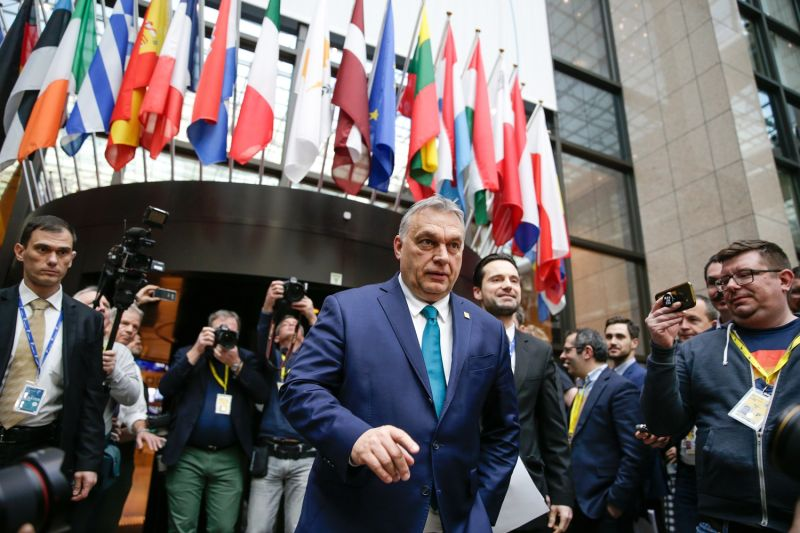 Hungarian Prime Minister Viktor Orban leaves following a meeting during the second day of a special European Council summit in Brussels on Feb. 21.
