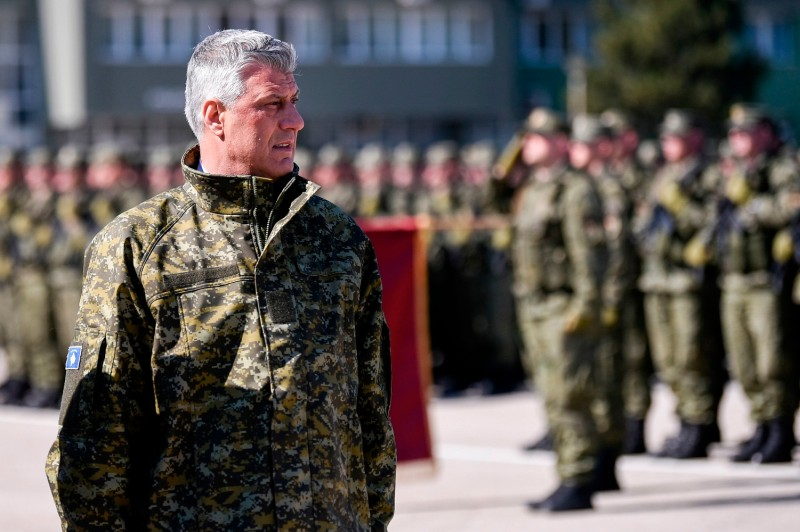 Kosovo President Hashim Thaci reviews members of the Kosovo Security Force during a ceremony in Pristina on March 5.