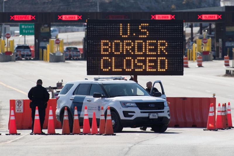 A sign says the U.S.-Canadian border is closed