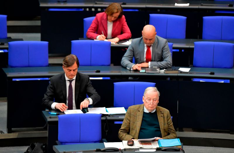Alexander Gauland (foreground), the parliamentary group co-leader of Germany's far-right Alternative for Germany, and members of his party's parliamentary group attend a session at the Bundestag, Germany's lower house of parliament, in Berlin on March 25.
