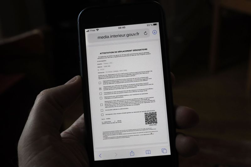 The new French self-attested movement document is displayed on a smartphone on April 6—the 21st day of a strict lockdown in France to stop the spread of COVID-19.