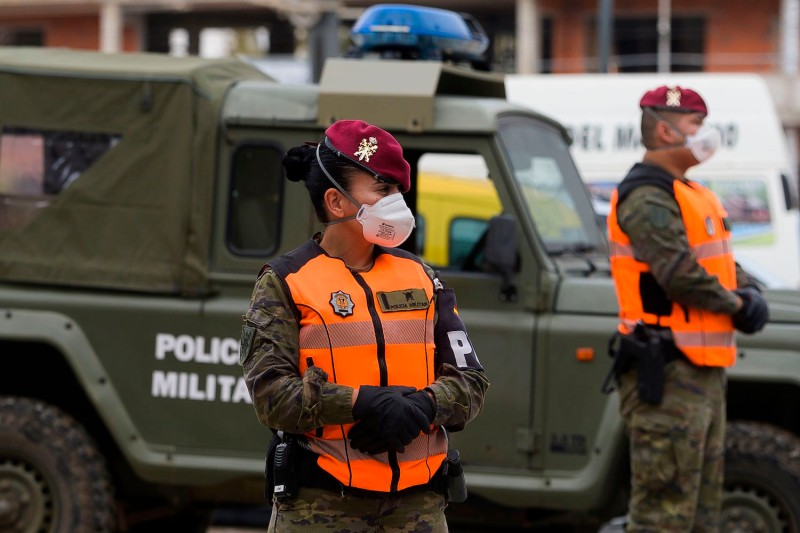 Spanish soldiers patrol the streets of Valencia to enforce the national lockdown due to the coronavirus on April 7.