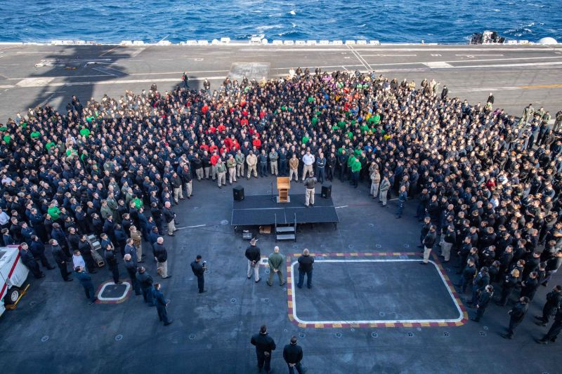 Capt. Brett Crozier, then the commanding officer of the aircraft carrier USS Theodore Roosevelt, addresses the crew in the Eastern Pacific Ocean on Dec. 15, 2019.