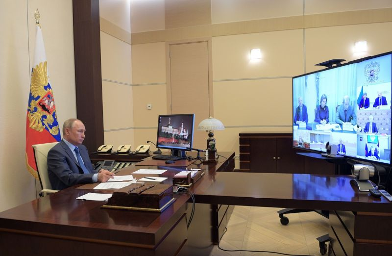 Russian President Vladimir Putin chairs a videoconference meeting at the Novo-Ogaryovo state residence outside Moscow on April 20.