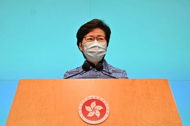 Chief Executive Carrie Lam speaks during a press conference at the government headquarters in Hong Kong on April 22.